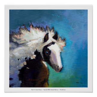 Gypsy Horse running passion colorful painting art Poster
