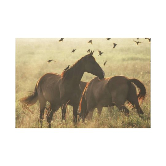 Gypsy Horses Landscape Wrapped Canvas