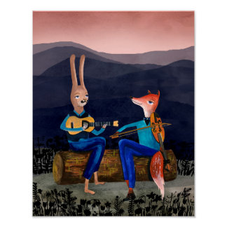 Gypsy Jazz - Rabbit and Fox Playing Music Poster
