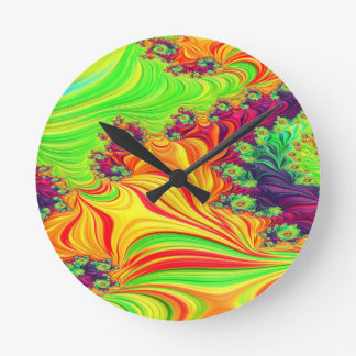 Gypsy Moire Fractal 2 Round Clock