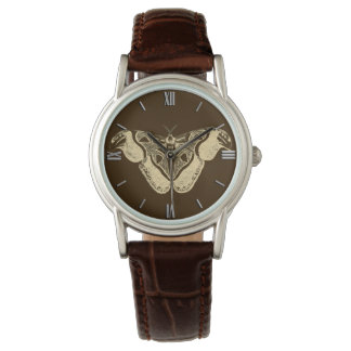 Gypsy moth, chocolate brown and beige watch