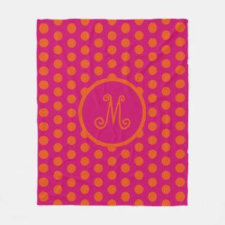 Gypsy Orange Polka Dots on Pink Monogram Fleece Blanket