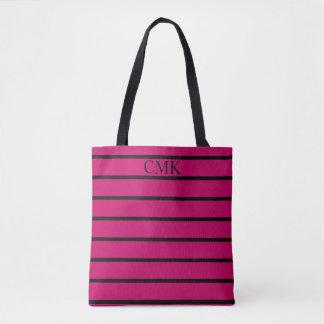 Gypsy Pink and Black Stripe Monogram Tote Bag