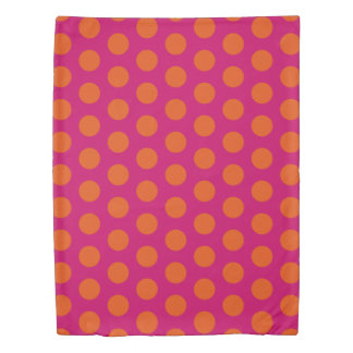 Gypsy Pink and Orange Polka Dot Reversible Duvet Cover