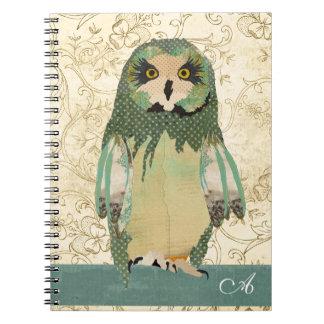 Gypsy Polkadot Owl Monogram Notebook