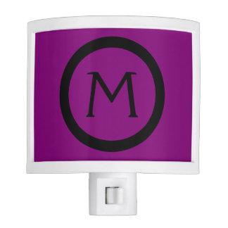 Gypsy Purple and Black Monogram Nite Light