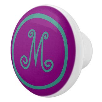 Gypsy Purple and Teal Monogram Ceramic Knob