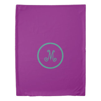 Gypsy Purple and Teal Monogram Reversible Duvet Cover