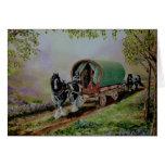 """Gypsy Road"" Vanner horse, Irish caravan Scotland Greeting Card"