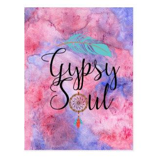 Gypsy Soul - Boho Flower Child Dreamcatcher Postcard