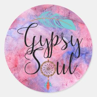 Gypsy Soul - Boho Flower Child Dreamcatcher Round Sticker