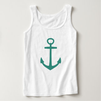 Gypsy Teal Anchor on White Tank Top