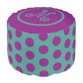 Gypsy Teal and Purple Polka Dot Monogram Pouf