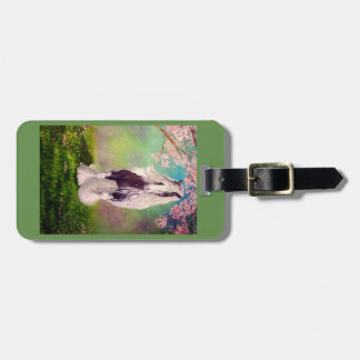 Gypsy Vanner, cherry tree blossoms, green Luggage Tag
