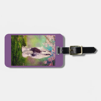 Gypsy Vanner, cherry tree blossoms, purple Luggage Tag