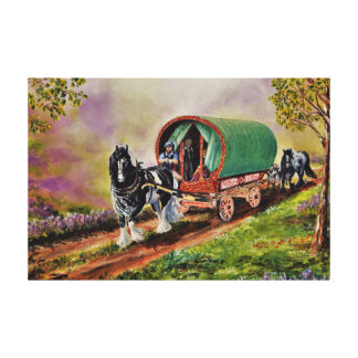 Gypsy Vanner horse/horses, Caravan wagon Canvas Print