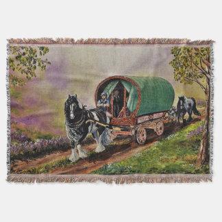 Gypsy Vanner horse/horses, Caravan wagon,cartooned Throw Blanket