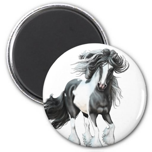 Gypsy Vanner...Prince 2 Inch Round Magnet