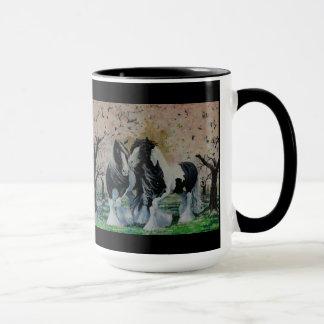 Gypsy Vanner stallion mare in cherry tree grove Mug