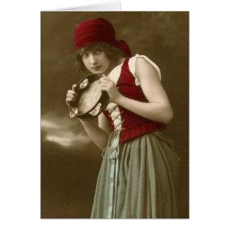 Gypsy vintage girl card