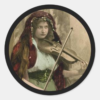 Gypsy Woman and Violin Classic Round Sticker