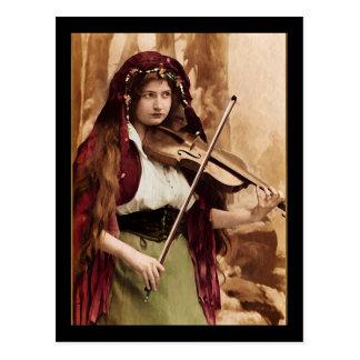 Gypsy Woman and Violin Postcard