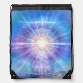 H016 Meditator Heart Blue Drawstring Bag