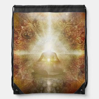 H048 Meditator Brown Drawstring Bag