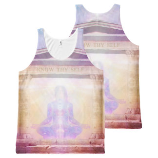 H049 Know Thy Self Magenta All-Over-Print Tank Top