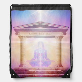 H049 Know Thy Self Magenta Drawstring Bag