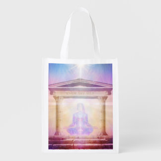 H049 Know Thy Self Magenta Reusable Grocery Bags
