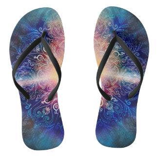 H066 Mandala Blue 5 Flip Flops