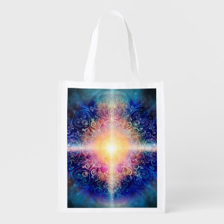 H066 Mandala Blue 5 Reusable Grocery Bag