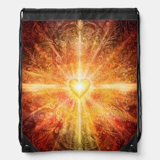 H070 Mandala Deep Orange Drawstring Bag