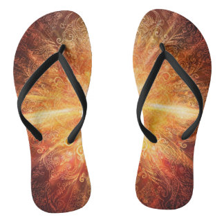 H070 Mandala Deep Orange Flip Flops