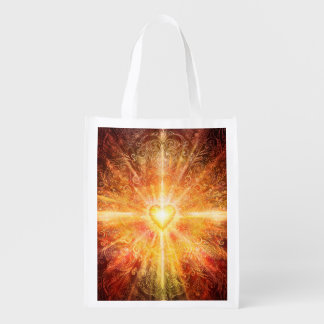 H070 Mandala Deep Orange Grocery Bag
