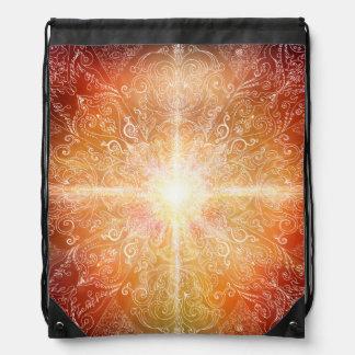 H074 Mandala Orange Bright Drawstring Bag