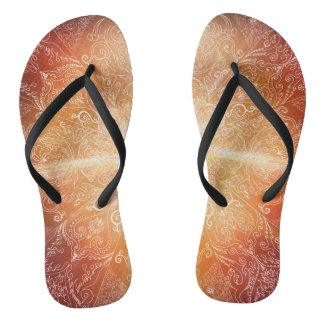 H074 Mandala Orange Bright Flip Flops