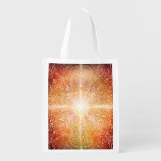 H074 Mandala Orange Bright Grocery Bag