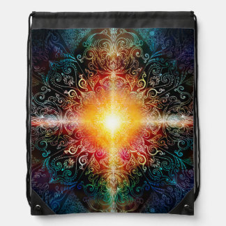 H103 Heart Mandala Colors 3 Drawstring Bag