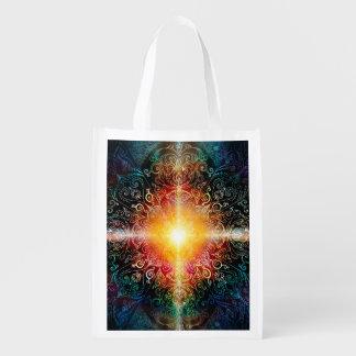 H103 Heart Mandala Colors 3 Reusable Grocery Bag