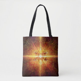 H113 Heart in Star Red Tote Bag
