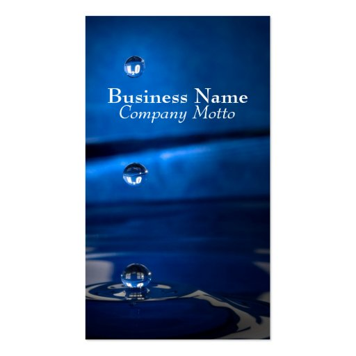 H2O Water Drops Blue Generic business card