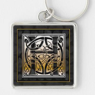 "H Initial ""Celtic Black Stone"" Key Chain"