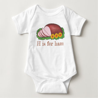 H is for Ham Christmas Easter Holiday Dinner Meat Baby Bodysuit