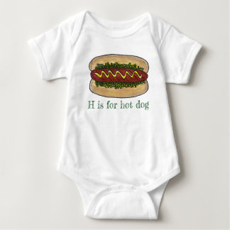 H is for Hot Dog Hotdog Relish Bun Letter Initial Baby Bodysuit
