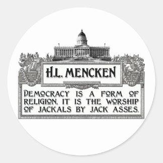 H L Mencken on Democracy Stickers