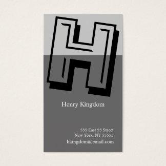 H Letter Alphabet Business Card Grey