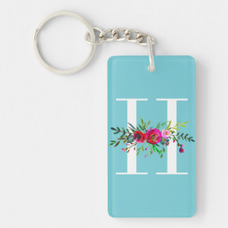 H Letter Initial Monogram Floral Custom Color Keychain