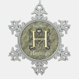 H - Monogramme vintage de relief (or) Décoration De Noël